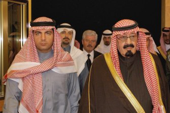 Saad Hariri (second left) and his elder brother Bahaa (first left) with the late Saudi king Abdullah in 2005. Twelve years later Saad Hariri would be detained by the Saudis, allegedly at the behest of Crown Prince Mohammed bin Salman.