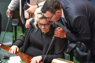 Daniel Andrews congratulates health Minister Jill Hennessy on the passing of the assisted dying bill in the lower house in October 2017.