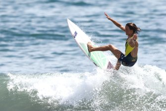 Sally Fitzgibbons during a practice session at Tsurigasaki Surfing Beach.