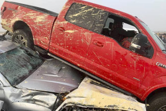 Cars are piled on top of one another following a multi-vehicle pileup on Interstate 64 in Virginia on Sunday.