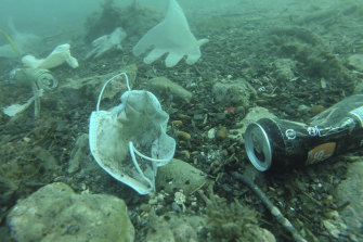 Plastic gloves and face masks and other wastes off Antibes, southern France, in late May. Environmental group Operation Clean Sea found virus-era detritus littering the Mediterranean floor near the French Riviera.