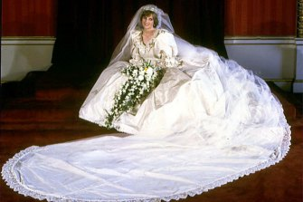 The late Diana, Princess of Wales, in her famous wedding dress by David & Elizabeth Emanuel in July 1981.