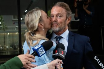 Craig McLachlan and his partner Vanessa Scammell following his acquittal in December.