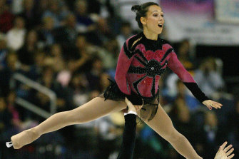 France's Sarah Abitbol, pictured competing in 2003 in the pairs free skate event of the World Figure Skating Championships has made accusations she was raped by a coach.