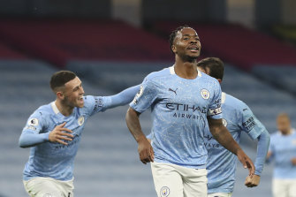 Raheem Sterling celebrates his goal, which would prove the difference against Arsenal.