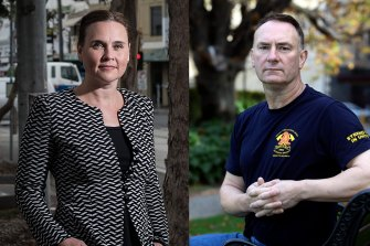 A composite image of former minister Jane Garrett and firefighter union leader Peter Marshall.