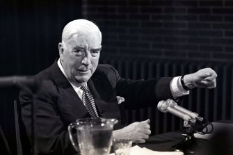 Prime Minister Robert Menzies holds a last press conference in Canberra on  January 20, 1966. The manner of his retirement was described as a model for other politicians both in Australia and abroad.