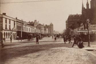 Swanston Street, Melbourne, c.1880: At the corner of Flinders Street and Swanston Street, Melbourne.