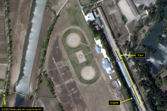 A satellite image provided by Planet Labs and annotated by 38 North, a website specialising in North Korea, shows the Leadership Railway Station in Wonsan. North Korean leader Kim Jong-un's train has been parked at the station since at least April 21.