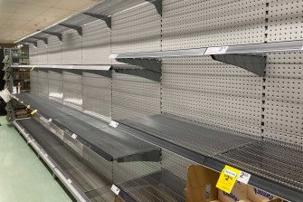 Sydneysiders are back to panic buying. Here's the toilet paper section in Surry Hills Woolworths.