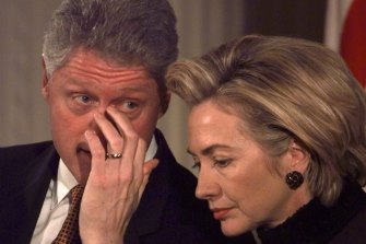 Bill and Hillary Clinton at the White House in 1999. Clinton went about his normal schedule, even as the Senate started the first day of his impeachment trial.