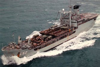 The HMAS Tobruk on route to Honiara in the Solomon Islands for the evacuation.