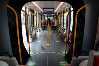 A pigeon is the only passenger on a deserted tram in Sydney's locked-down CBD.