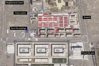 "A satellite image shows a forced internment camp in the Xinjiang region of China. Experts say the Chinese government has detained up to 1.8 million Uighurs, ethnic Kazakhs and other Muslim minorities for what it calls ""voluntary job training""."