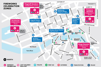 A map of the City of Melbourne's planned fireworks for New Year's Eve