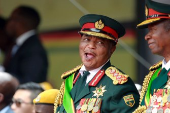Army General Constantino Chiwenga smiles during the presidential inauguration ceremony in Harare, in 2017.