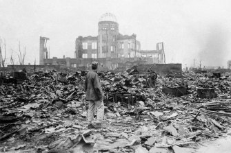 Hiroshima after the atomic bomb hit in 1945.