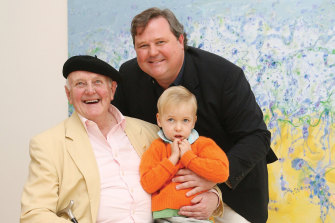 John Olsen with Tim and his son James in front of 'Popping Blue Bottles' at John's exhibition A Salute to Sydney. It was the first show at Tim's new gallery on Jersey Rd, Woollahra.