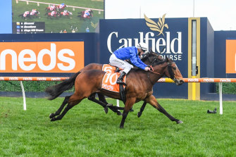 Jockey Mark Zahra steers Savatiano to the win at the P.B. Lawrence Stakes at Caulfield Racecourse.