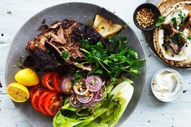 Adam Liaw's roast lamb shoulder shawarma recipe.