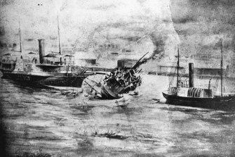 Wreck of the Pearl off the South Brisbane bank of the Brisbane River.