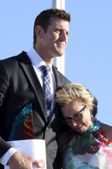 Rosie Batty, having just been announced as 2015 Australian of the Year, with Ben Roberts-Smith, then Chair of the National Australia Day Council.