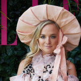 Nadia Fairfax wore a Baby Bunting-inspired outfit on Melbourne Cup Day.