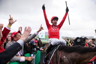 Jockey Kerrin McEvoy celebrates after riding Redzel to victory in the Everest last year.