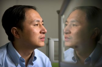 He Jiankui at a laboratory in Shenzhen in southern China's Guangdong province. His claim to have genetically edited babies has made him a lightning rod for ethics concerns.