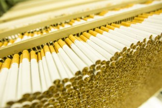 Cigarettes being produced.