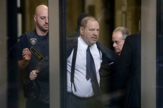 Harvey Weinstein passes through a security checkpoint at New York Supreme Court in December 2018.