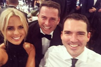 Sylvia Jeffreys with brother-in-law Karl Stefanonic (centre) and husband Peter Stefanovic.