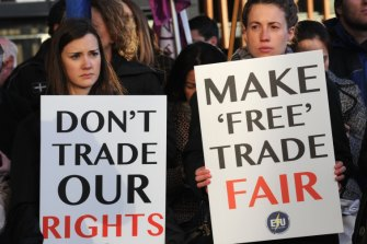 The union movement will continue its campaign against free trade agreements that they believe sell-out workers.