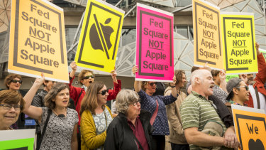 A protest in February against the proposed Apple store at Federation Square.