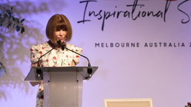 Fashion editor Anna Wintour addresses the 2019 Australian Open Inspirational Series Brunch in Melbourne on Thursday January 24, 2019.