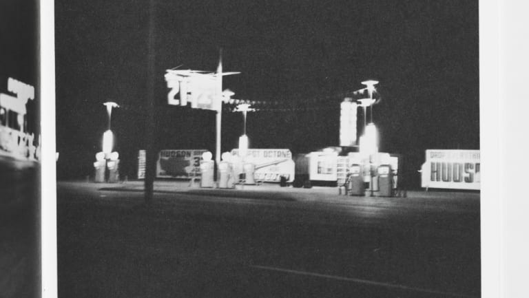 Edward Ruscha: 'Twenty-six gasoline stations', 1962, printed 1969, offset lithograph, printed in black ink; sewn and glued, 18 x 14.1cm, National Gallery of Australia, Canberra, Purchased 1981.