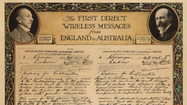Commemorative certificate of PM Billy Hughes and Joseph Cook's first wireless message, 1918.