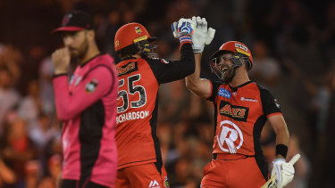 Final bound: Kane Richardson  and Dan Christian (right)  of the Renegades  celebrate after beating the Sixers.