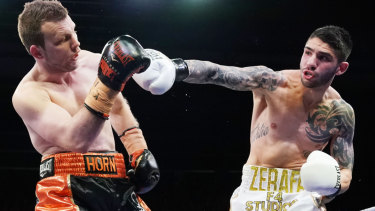 Michael Zerafa (right) shocked Jeff Horn in the 'Battle of Bendigo'