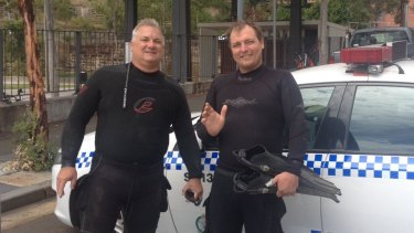 Newcastle diving enthusiasts Tony Strazzari and Paul Szerenga often search for old glassware in waters up and down the NSW coast.