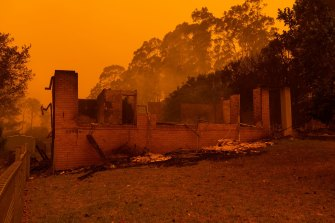 The Glover family's house in Mogo after the Black Summer bushfires.