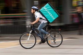 A Deliveroo rider.