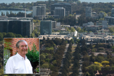 Roger Pegrum and the Canberra city skyline.