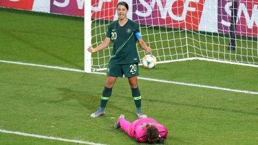 Sam Kerr celebrates her fourth goal after swooping on an error from Jamaica's goalkeeper.