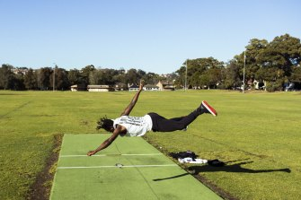 Howzat? Dancer and choreographer Lucky Lartey at a  cricket pitch at Beaman Park in Earlwood.