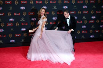 Power couple ... Geelong captain Joel Selwood and Brit Davis on the 2016 Brownlow red carpet.