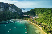 beautiful aerial view to tropical island with rocks, Palawan, Philippines str9-airport