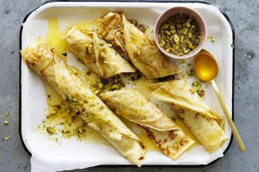 Honey and pistachio crepes.