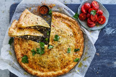 Neil Perry's Italian-style spinach and bacon pie recipe.