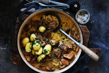 Cider pork stew.